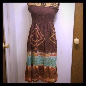 Tribal Tie Dye Festival Coachella Boho Midi Dress